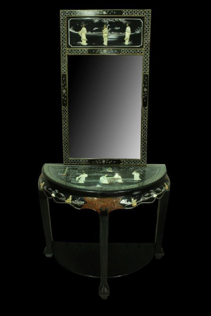 SET OF INLAID CHINESE MIRROR AND TABLE
