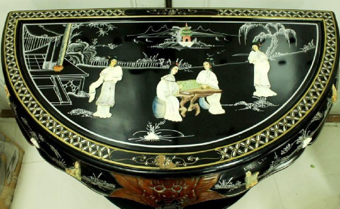 SET OF INLAID CHINESE MIRROR AND TABLE - 3