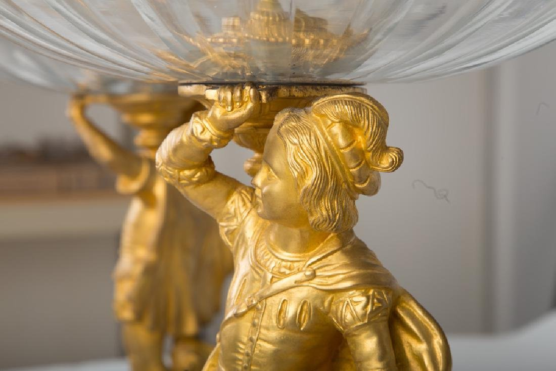 LARGE PAIR OF FRENCH BRONZE FIGURAL GLASS EPERGNES - 7