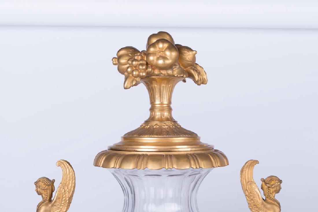 PAIR OF 19TH C. LOUIS XVI STYLE GILT BRONZE & CUT GLASS - 4