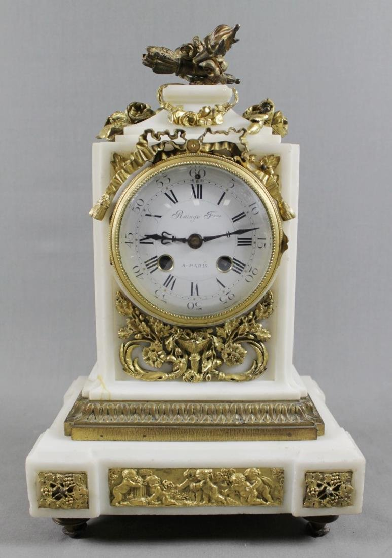 3 PC. FRENCH DORE BRONZE AND MARBLE CLOCKSET - 2