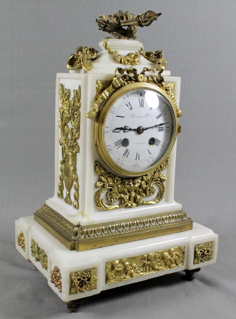 3 PC. FRENCH DORE BRONZE AND MARBLE CLOCKSET - 3