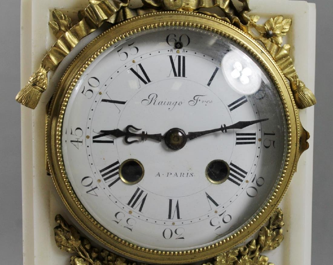 3 PC. FRENCH DORE BRONZE AND MARBLE CLOCKSET - 4