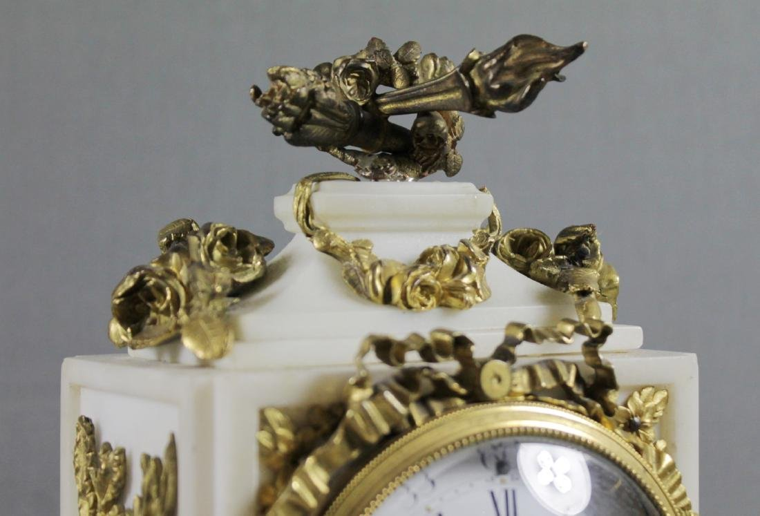 3 PC. FRENCH DORE BRONZE AND MARBLE CLOCKSET - 6