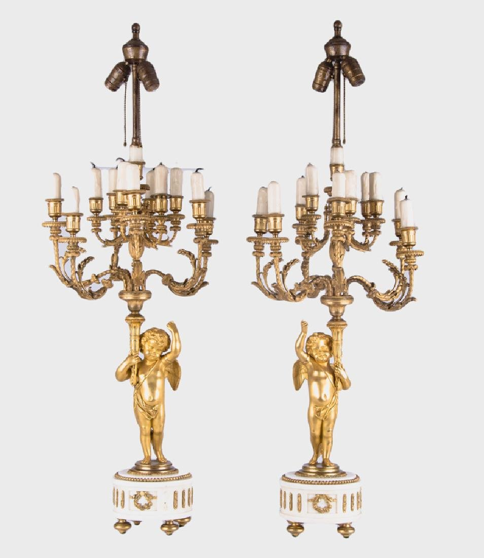 PAIR GILT-BRONZE AND MARBLE FIGURAL CANDELABRAS