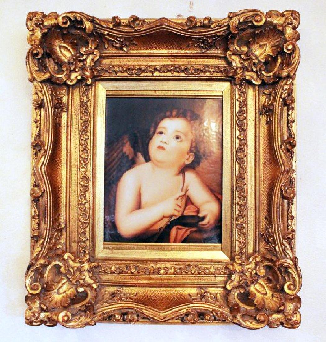 KPM HAND PAINTED PORCELAIN PLAQUE OF CUPID SHARPENING