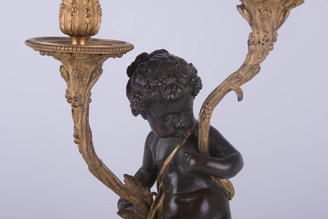 PAIR OF 19TH C. FRENCH BRONZE & MARBLE FIGURAL - 4