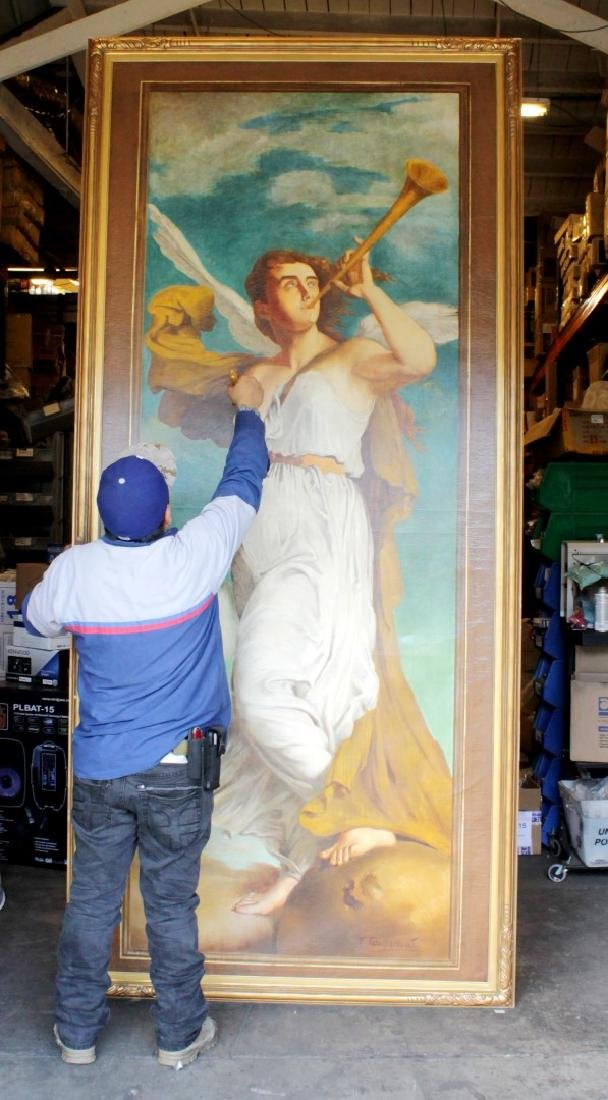 """MONUMENTAL109"""" X 46"""" PAINTING OF ANGEL ON CANVAS SIGNED - 6"""