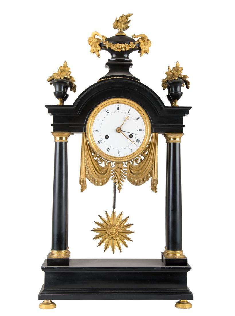 NEOCLASSICAL MARBLE & GILT-METAL MANTEL CLOCK