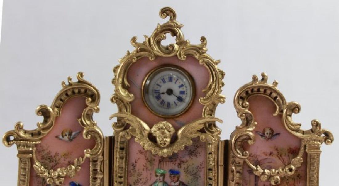 AUSTRIAN VIENNVIENNESE ENAMEL BRONZE PANEL SCREEN CLOCK - 5