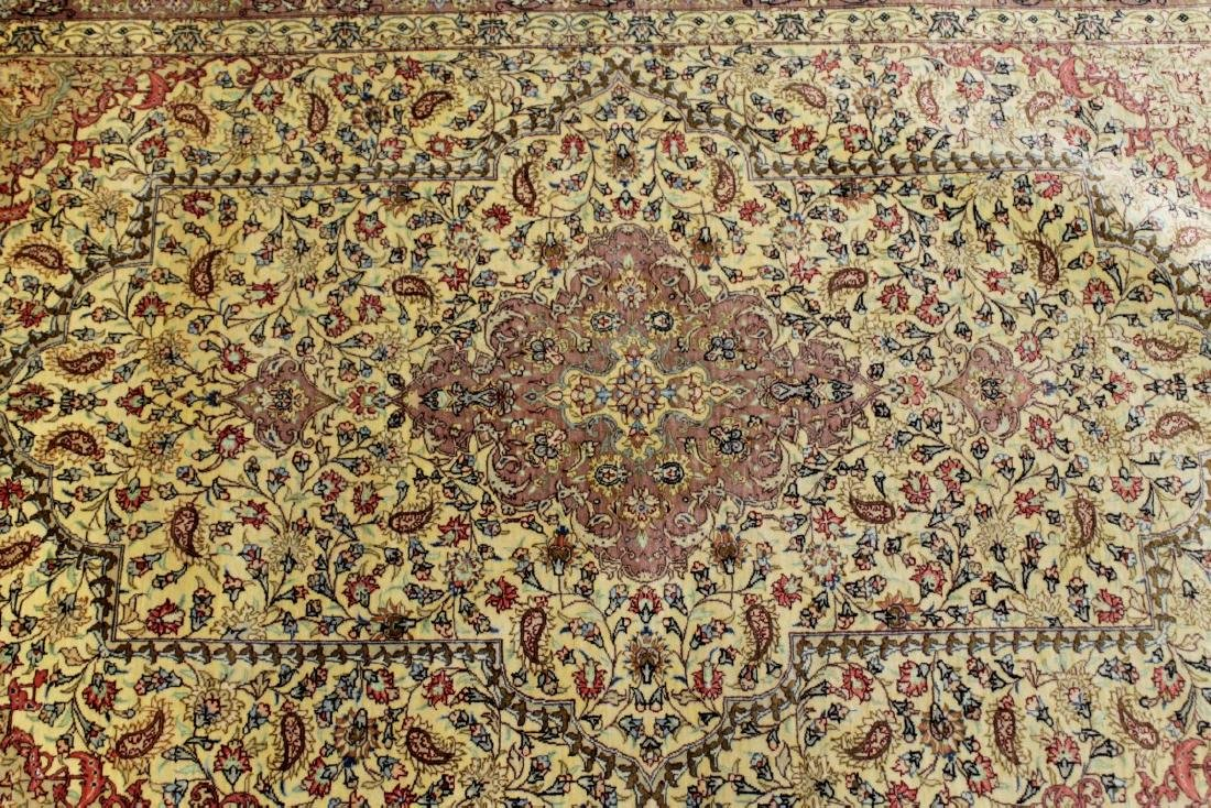 QUM SILK GOLD ROSE RUG IRAN - 2