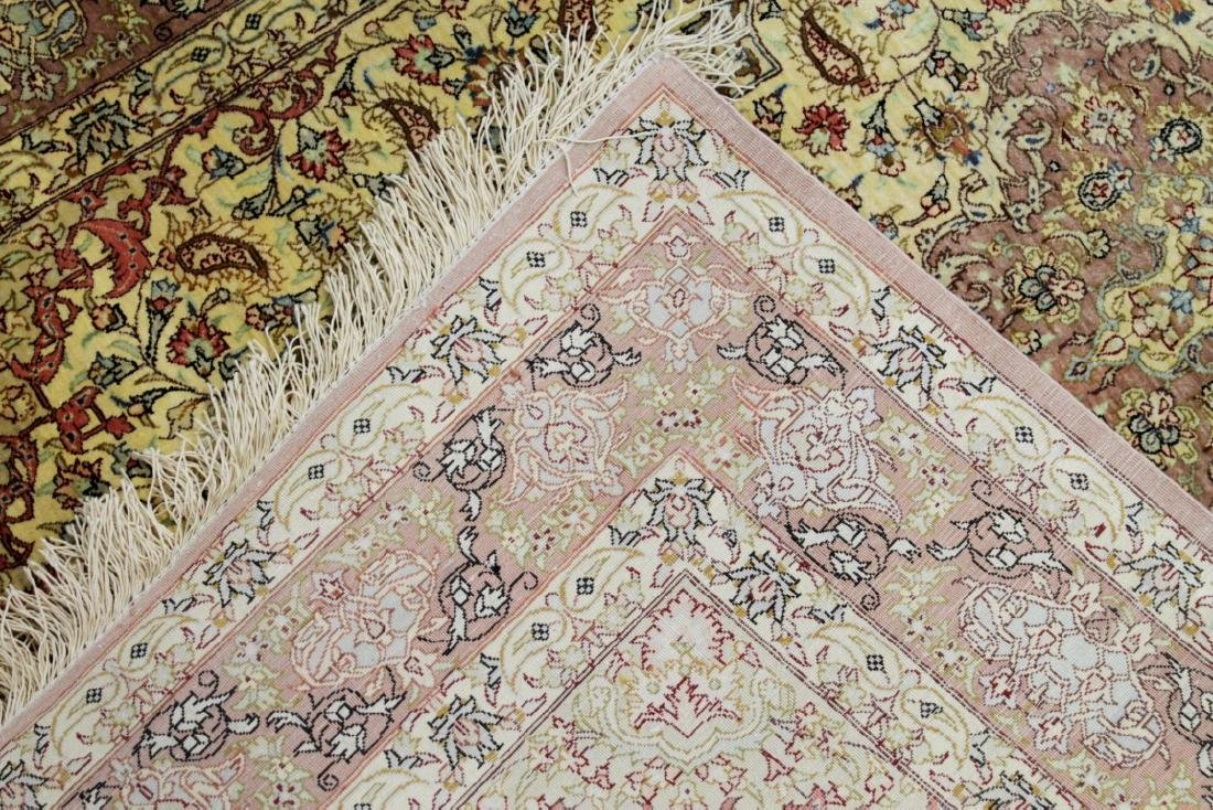 QUM SILK GOLD ROSE RUG IRAN - 3