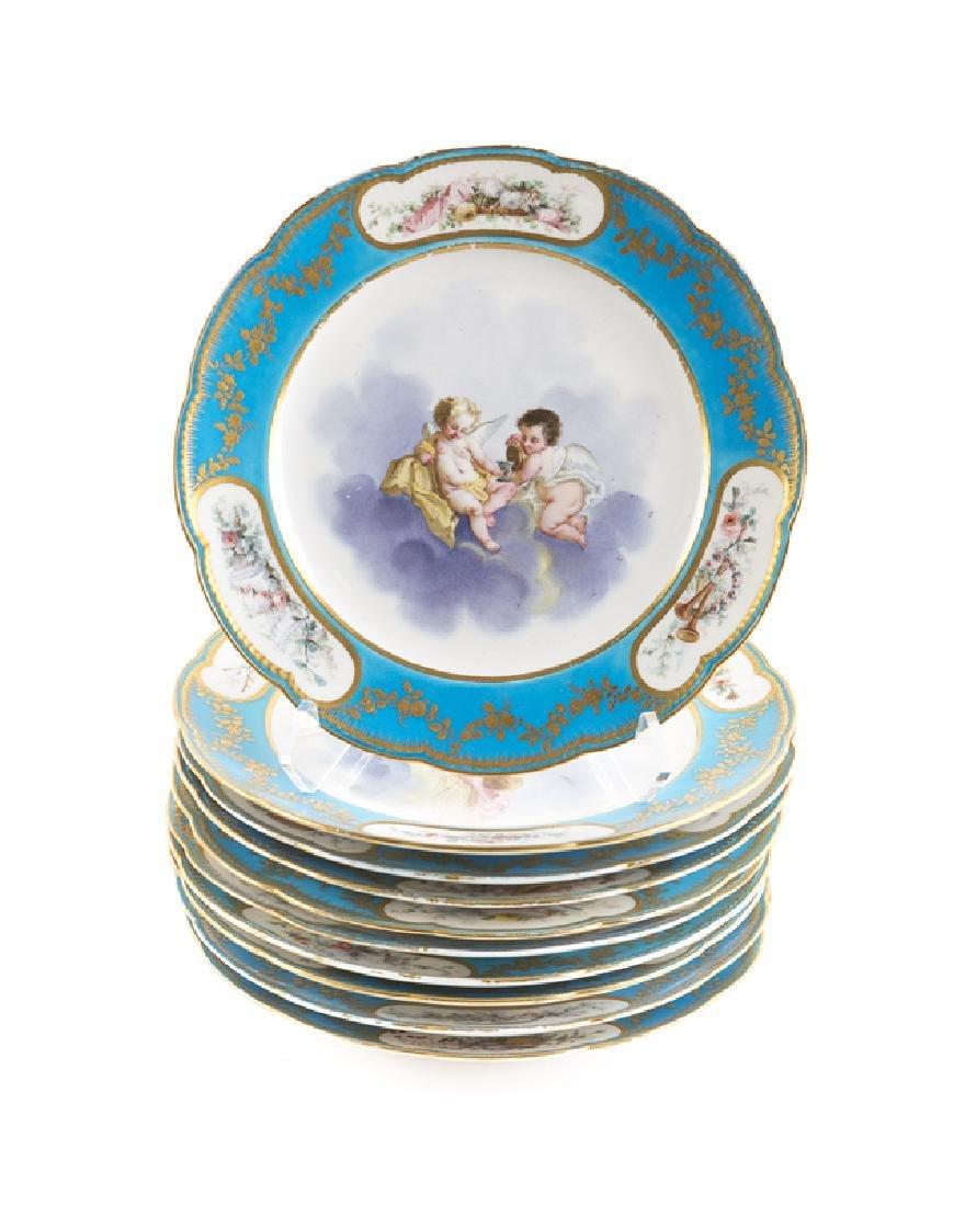 Set of 10 19th C. Sevres Bleu Celeste Cabinet Plates