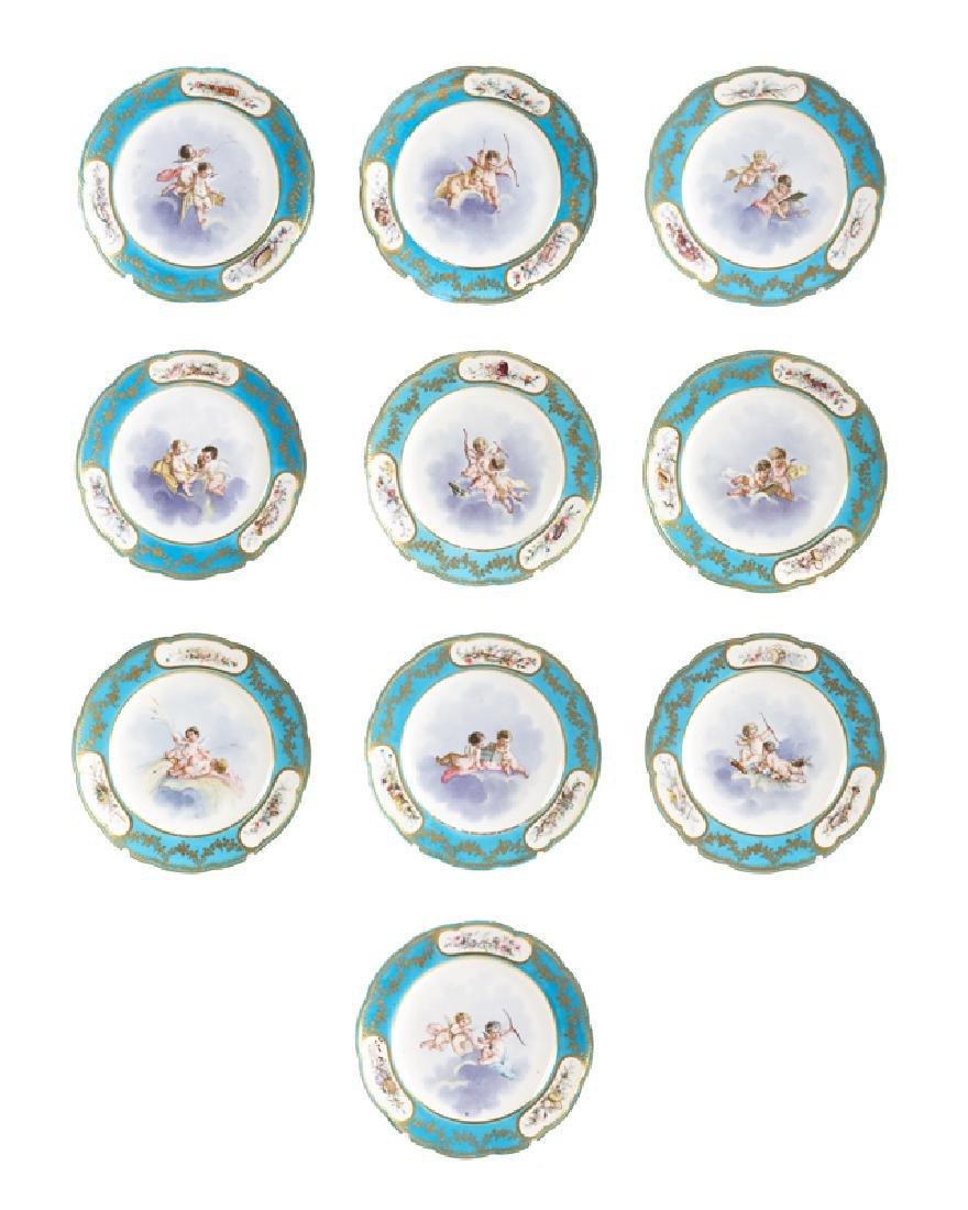Set of 10 19th C. Sevres Bleu Celeste Cabinet Plates - 2