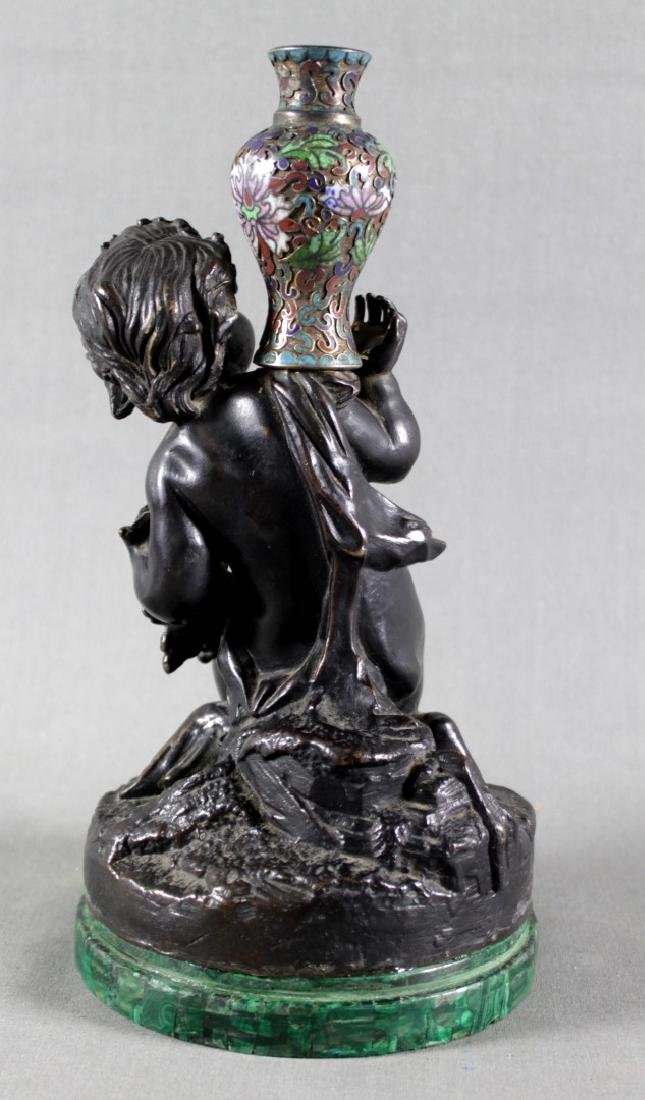 FRENCH PATINATED BRONZE AND ENAMEL FIGURE OF A BOY W/ - 3