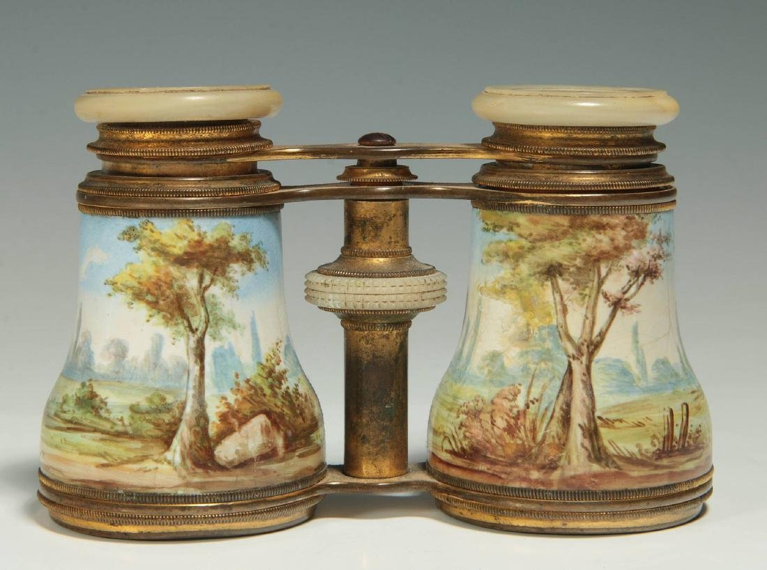 LATE 19TH C. KILN ENAMEL FRENCH OPERA GLASSES
