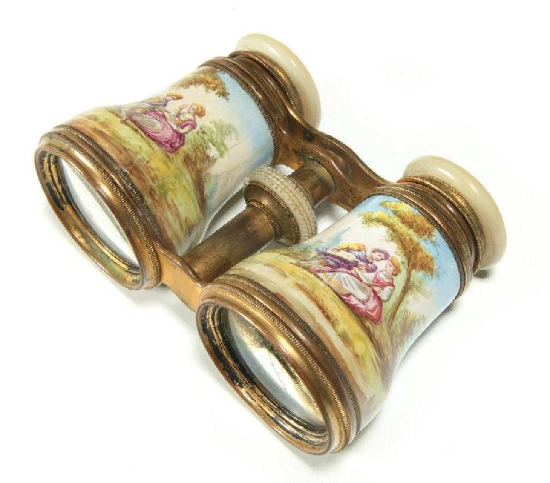 LATE 19TH C. KILN ENAMEL FRENCH OPERA GLASSES - 2