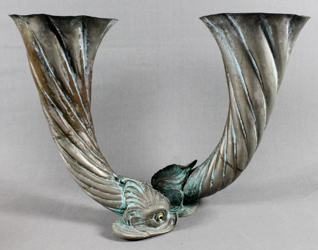 ITALIAN COPPER DOUBLE FISH VASE
