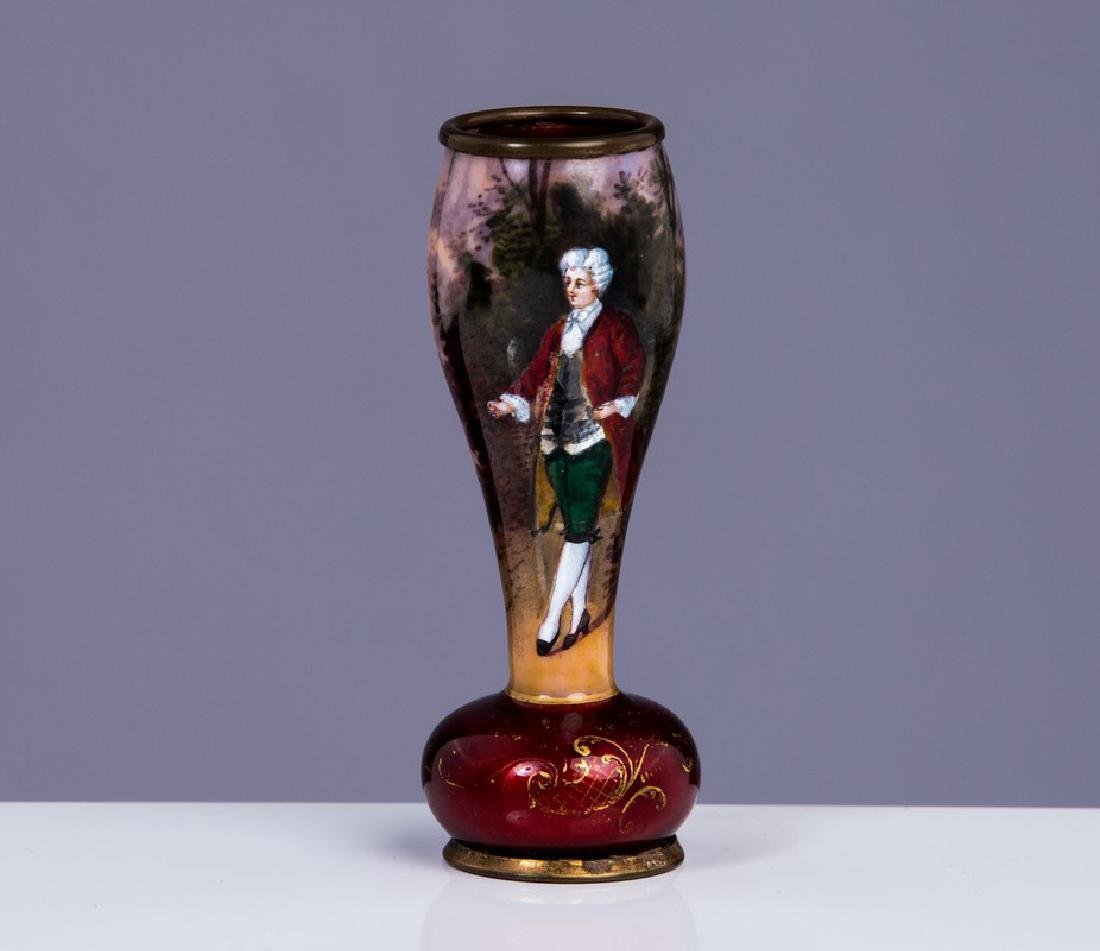 ANTIQUE FRENCH ENAMEL MINIATURE VASE