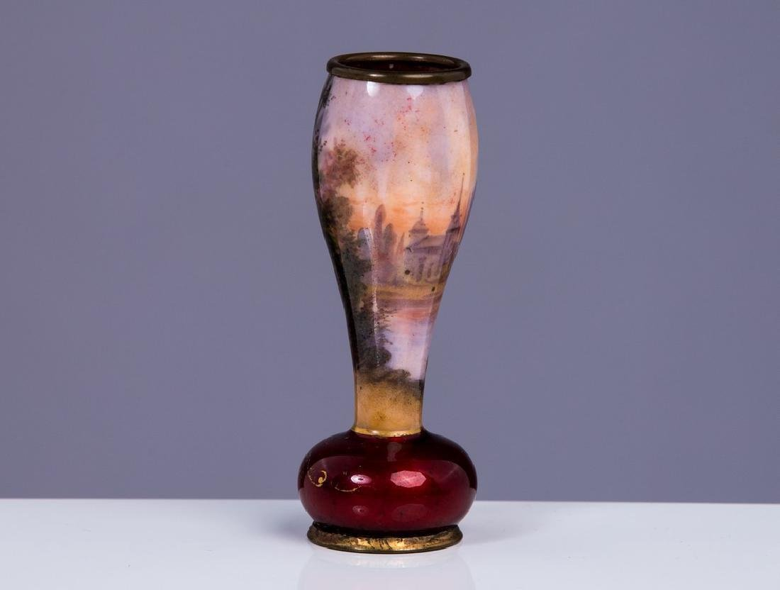 ANTIQUE FRENCH ENAMEL MINIATURE VASE - 2