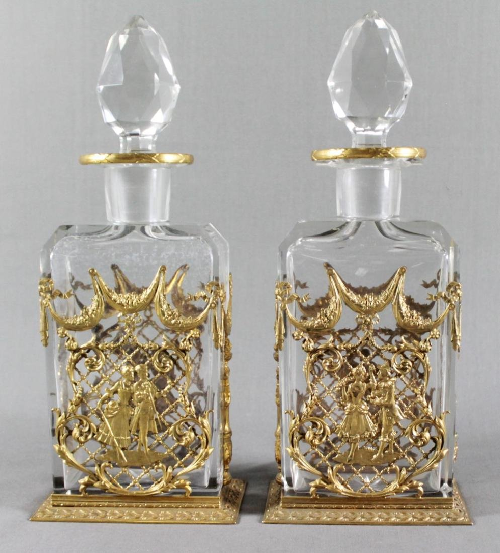 PAIR OF BACCARAT FRENCH CRYSTAL AND DORE BRONZE MOUNTED