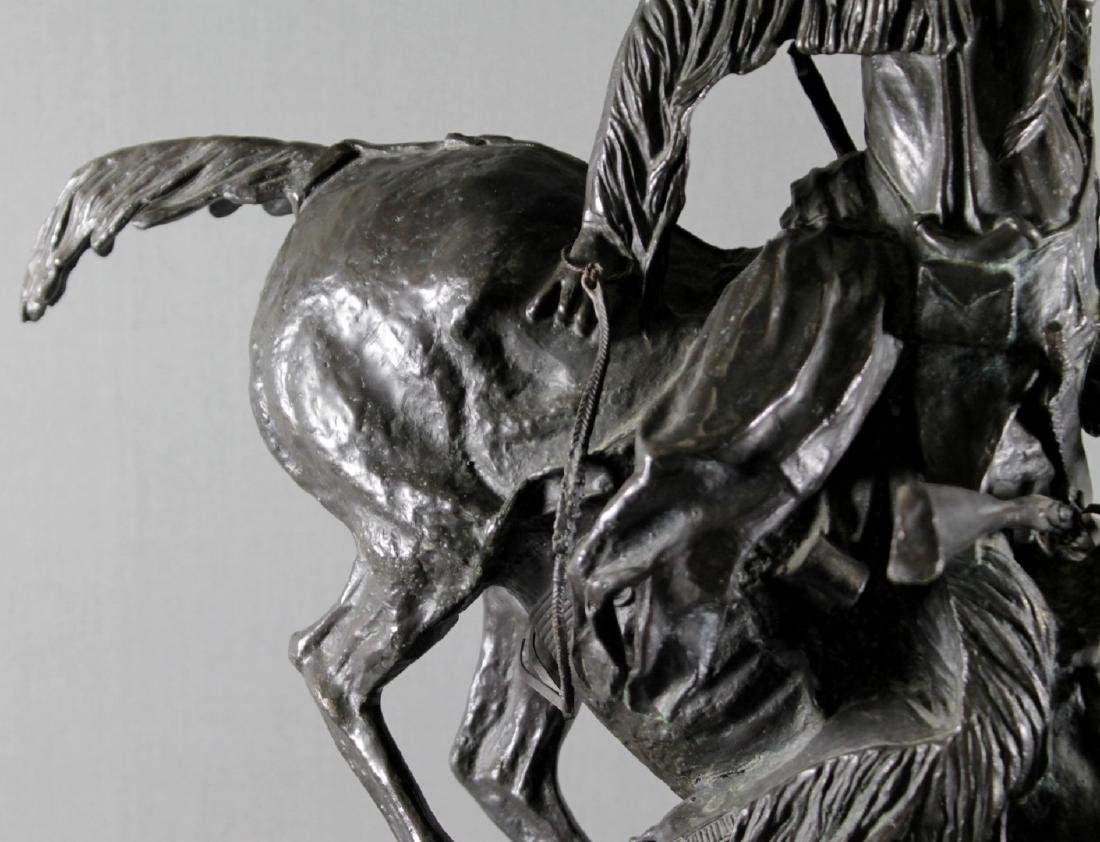 BRONZE GROUP OF INDIAN ON HORSE SIGNED FREDERICK - 5
