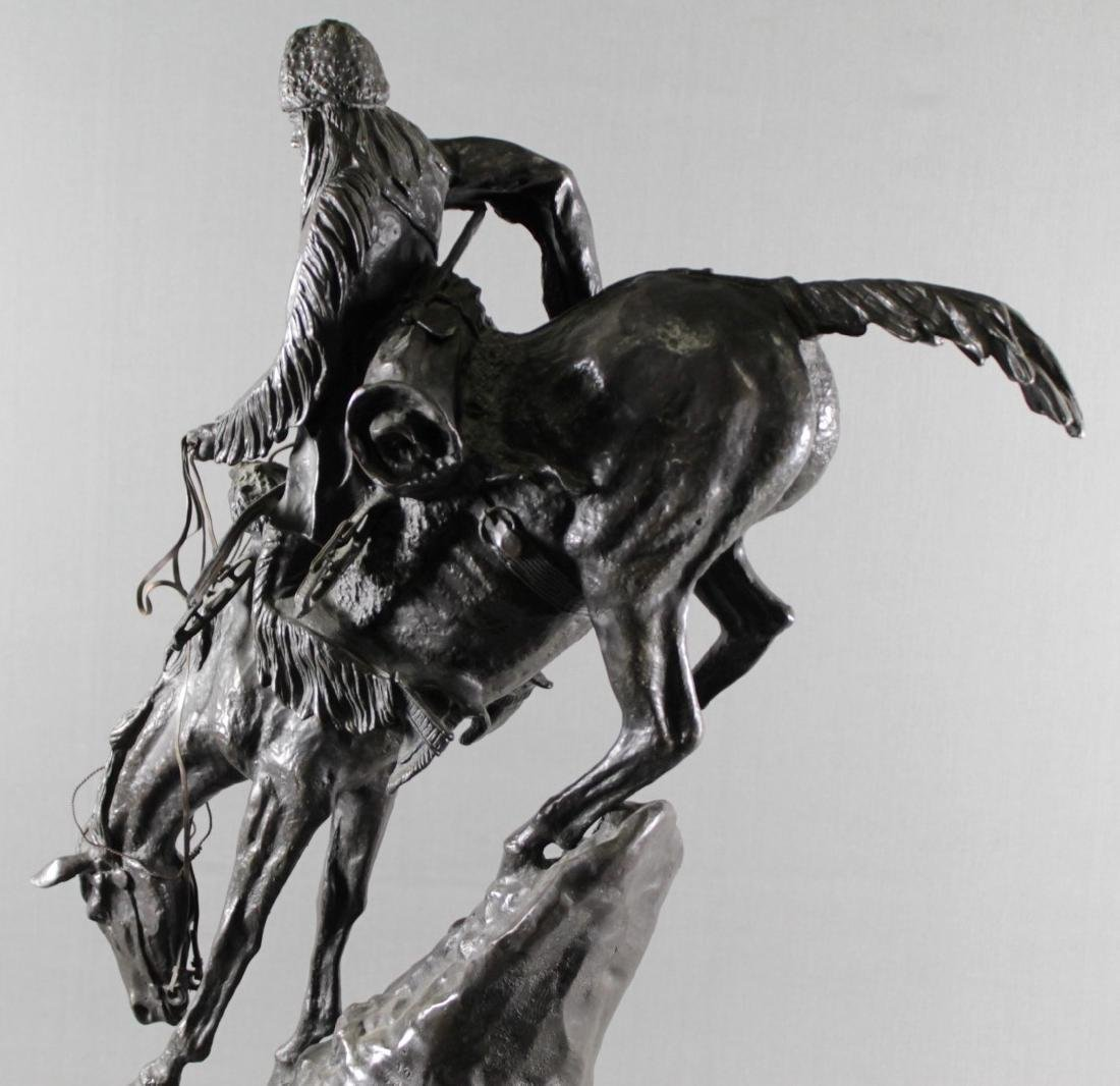 BRONZE GROUP OF INDIAN ON HORSE SIGNED FREDERICK - 8