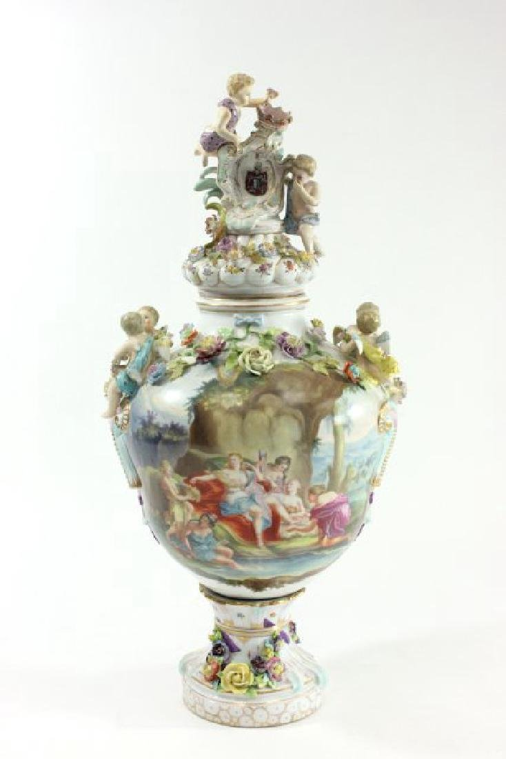 German Porcelain Encrusted Urn with Muses Scene on