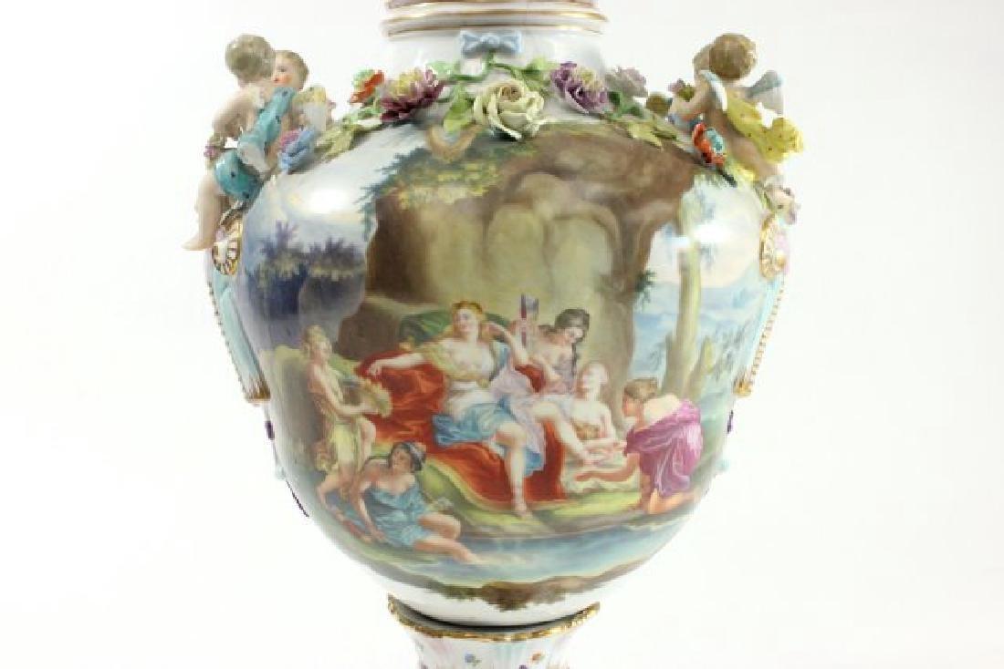 German Porcelain Encrusted Urn with Muses Scene on - 3