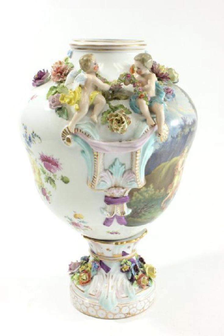 German Porcelain Encrusted Urn with Muses Scene on - 5