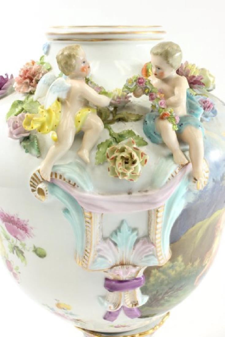 German Porcelain Encrusted Urn with Muses Scene on - 6
