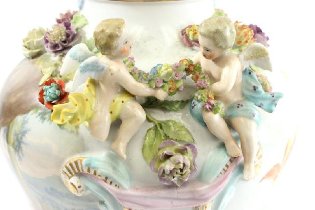 German Porcelain Encrusted Urn with Muses Scene on - 8