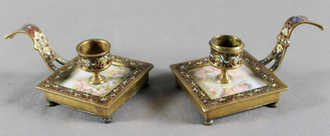 PAIR OF FRENCH CHAMPLEVE AND ENAMEL CANDLEHOLDERS