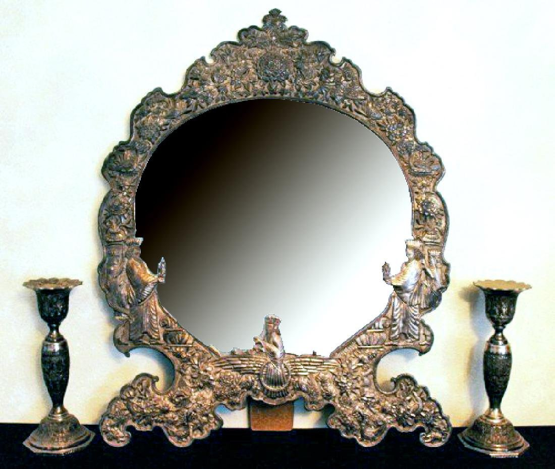 STERLING SILVER ROCOCO STYLE TABLE MIRROR WITH CANDLE