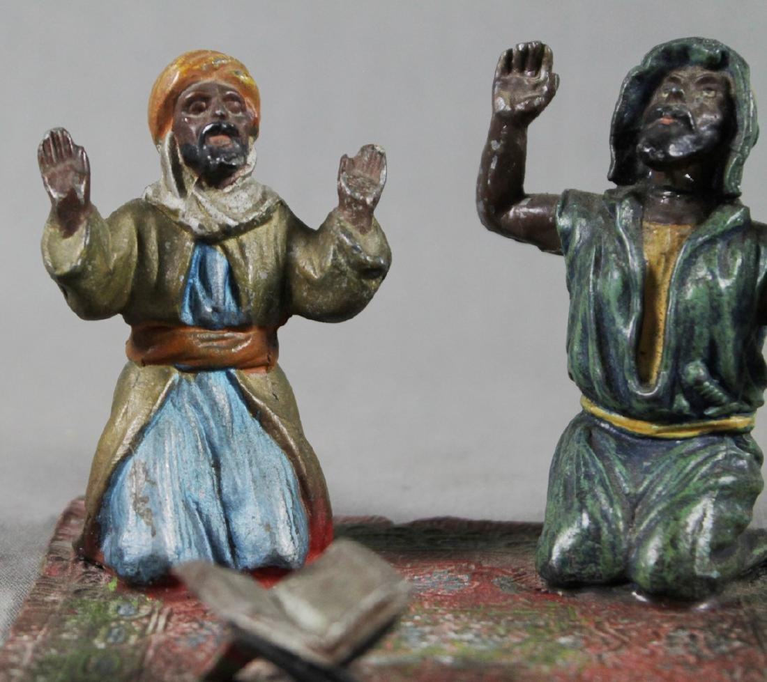 COLD PAINTED FIGURE OF 2 ARABS ON CARPET - 2