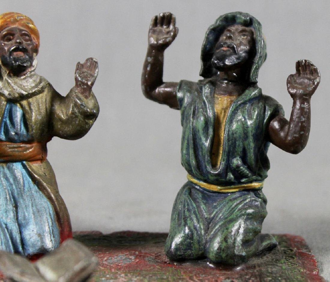COLD PAINTED FIGURE OF 2 ARABS ON CARPET - 3