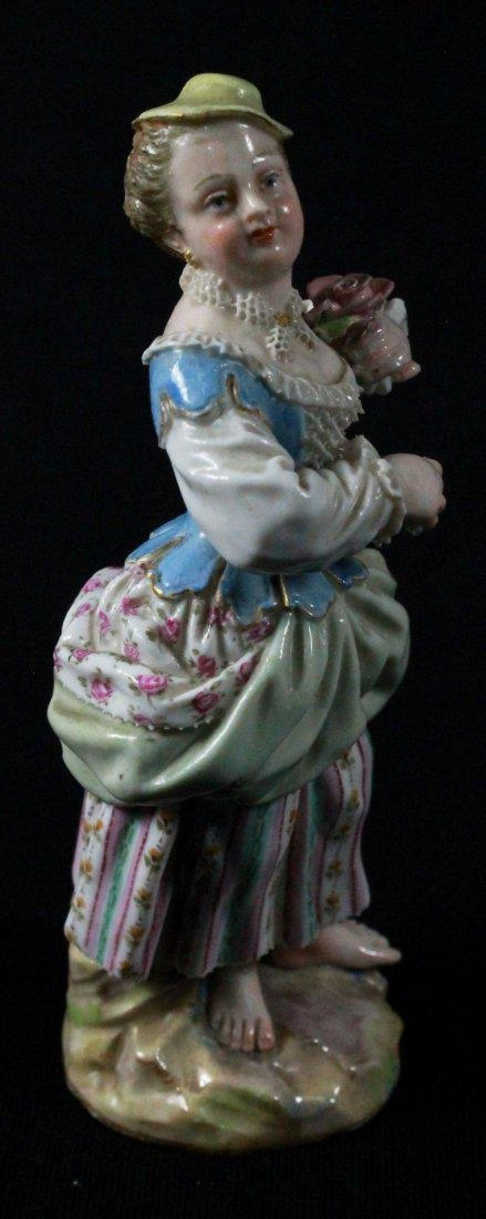 MEISSEN FIGURE OF A LADY HOLDING FLOWER - 2