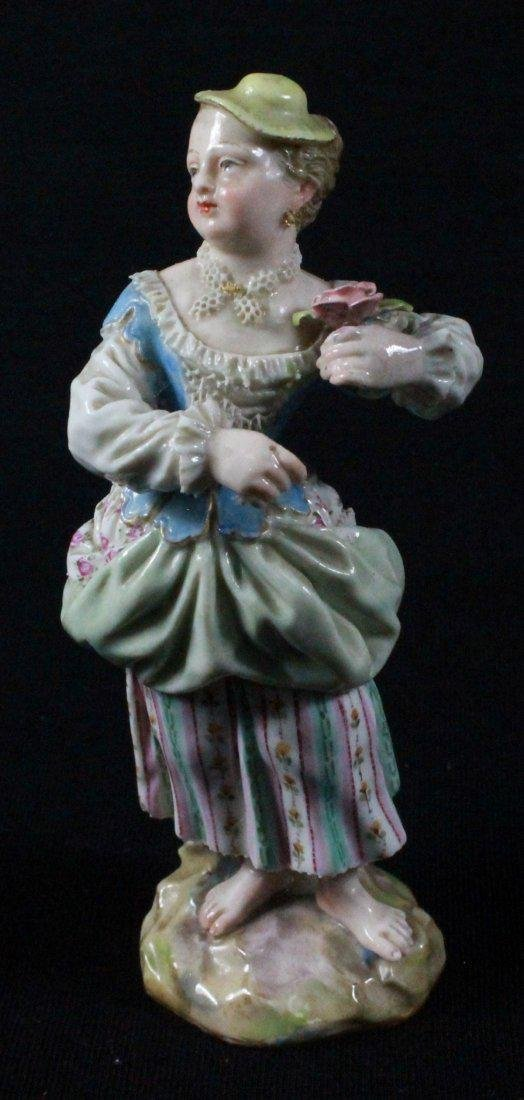 MEISSEN FIGURE OF A LADY HOLDING FLOWER - 3