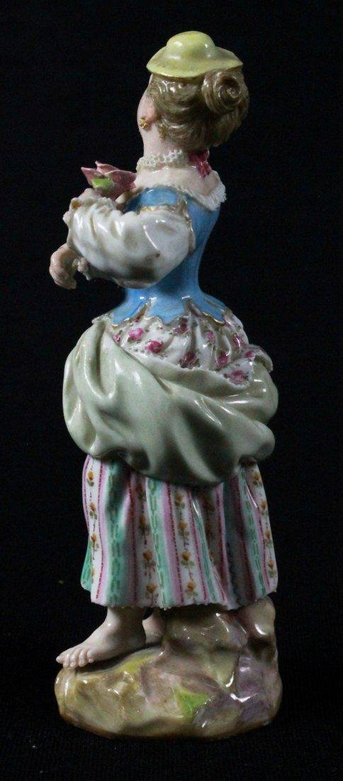 MEISSEN FIGURE OF A LADY HOLDING FLOWER - 4