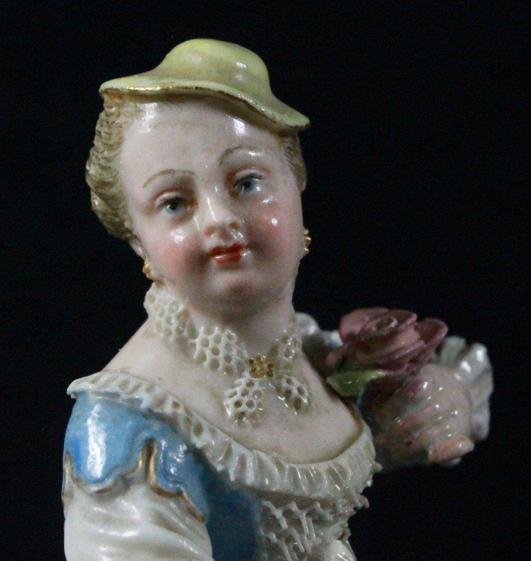 MEISSEN FIGURE OF A LADY HOLDING FLOWER - 5