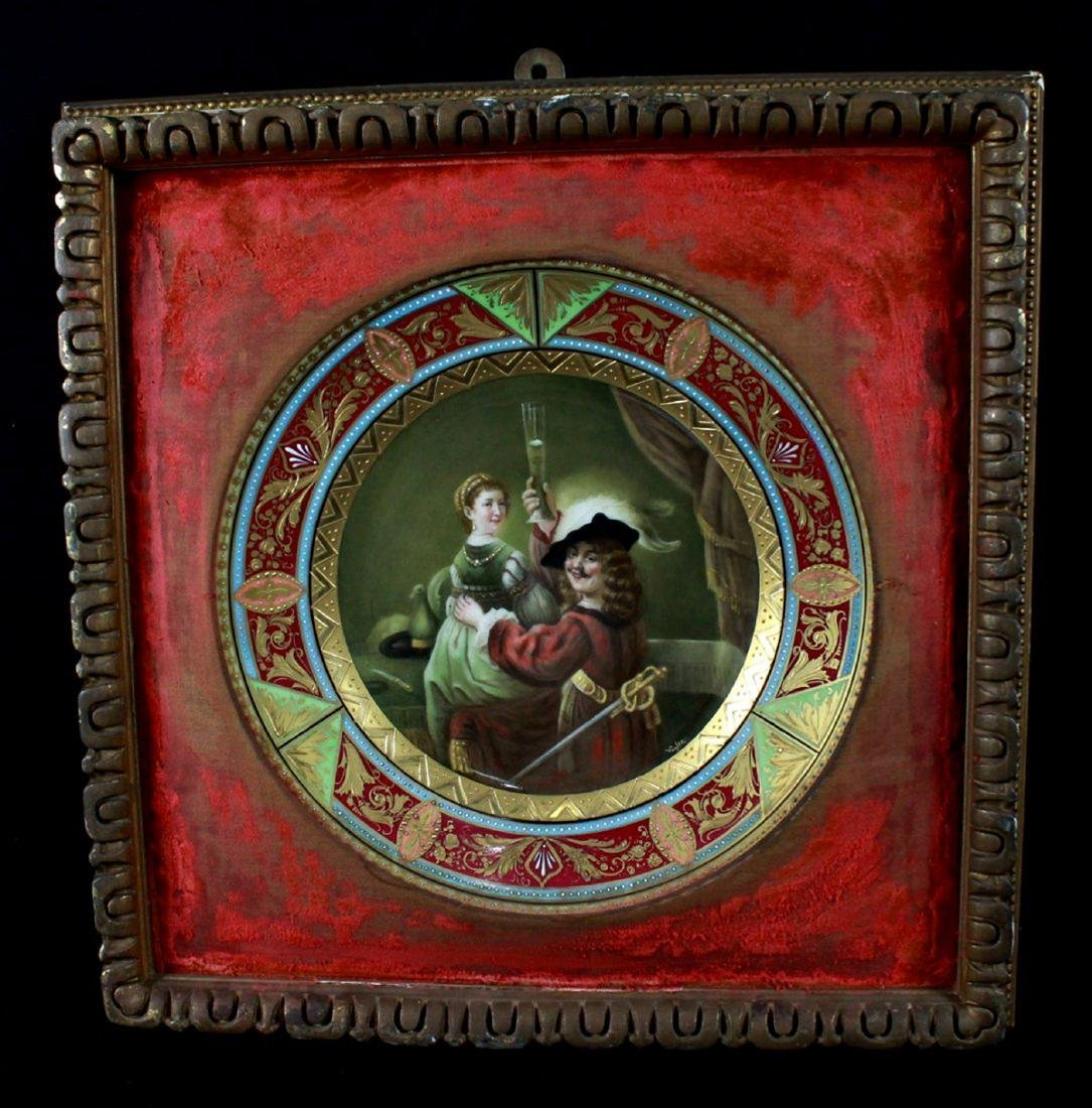 """ANTIQUE DRESDEN FRAMED CABINET PLATE""""CAVALIER AND A"""