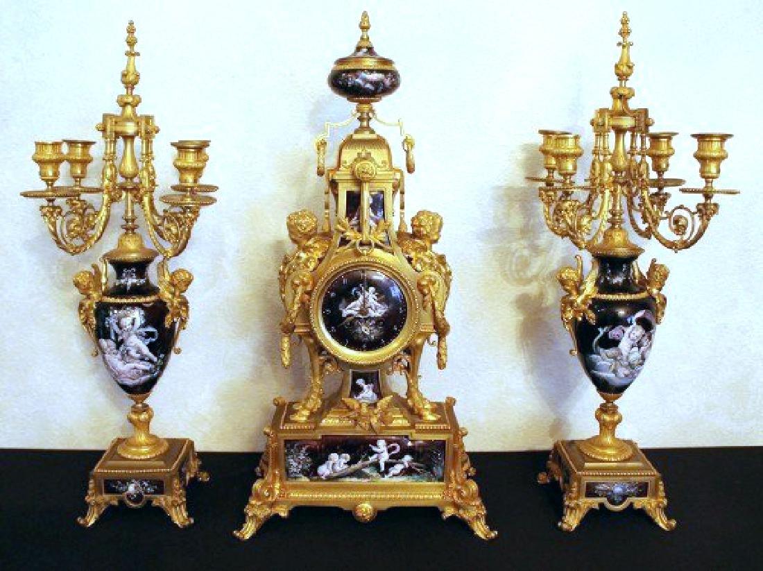 MONUMENTAL 19TH CENTURY LIMOGES ENAMEL CLOCK SET