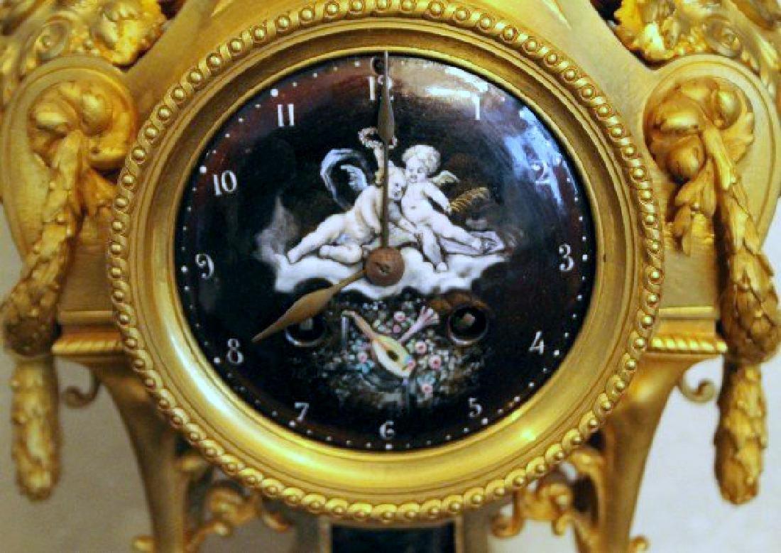 MONUMENTAL 19TH CENTURY LIMOGES ENAMEL CLOCK SET - 3
