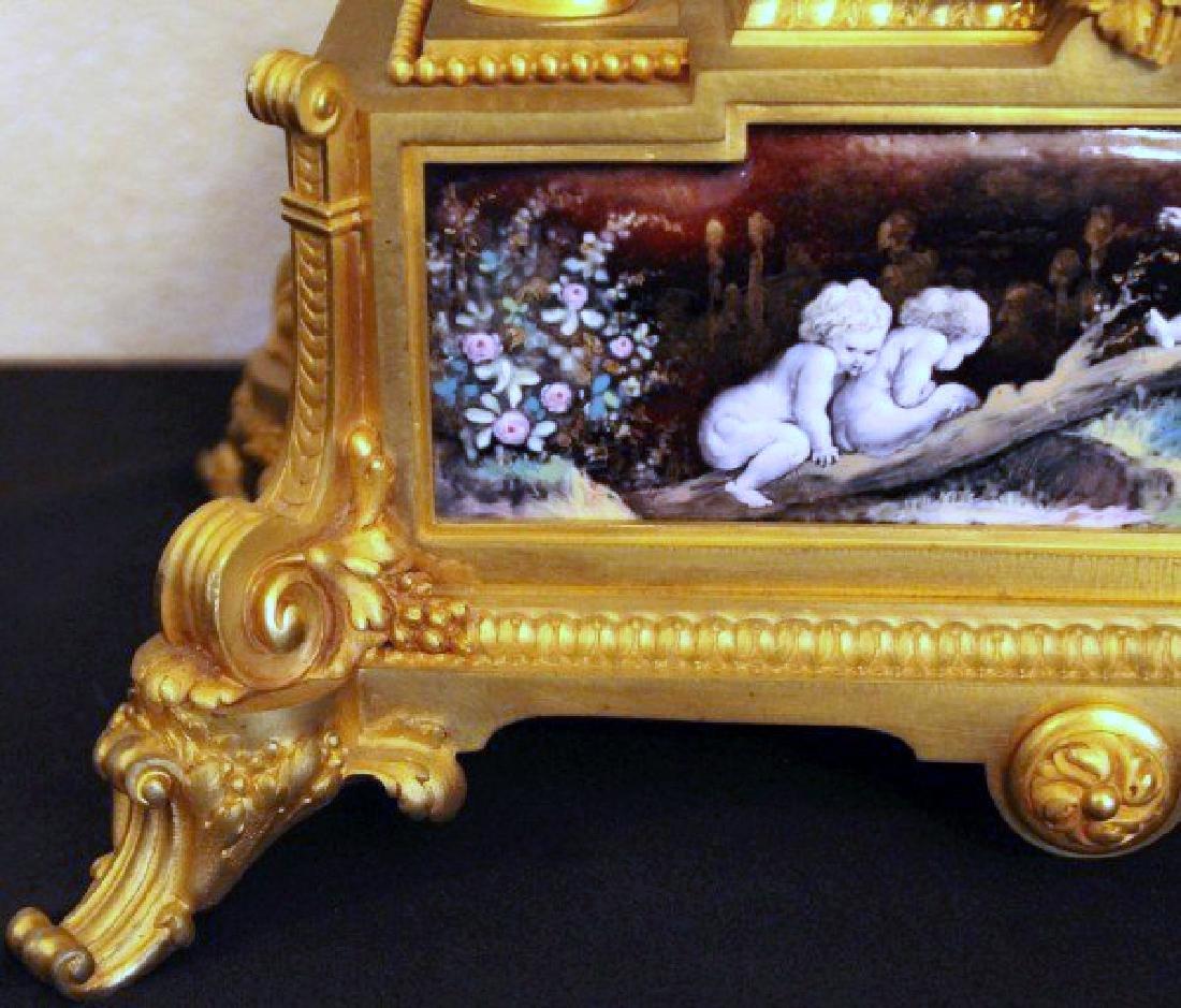 MONUMENTAL 19TH CENTURY LIMOGES ENAMEL CLOCK SET - 4