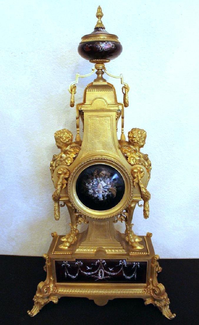 MONUMENTAL 19TH CENTURY LIMOGES ENAMEL CLOCK SET - 6