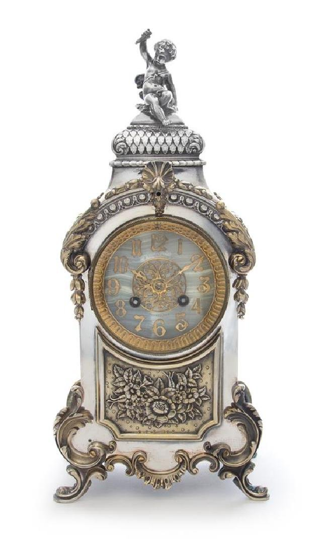 An American Silver-Plate Mantel Clock  derby silver for