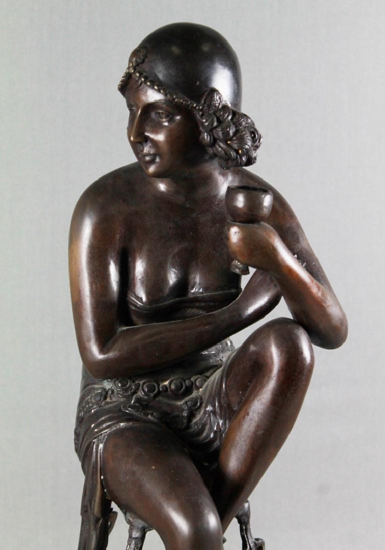 BRONZE FIGURE OF LADY SITTING ON STOOL - 2