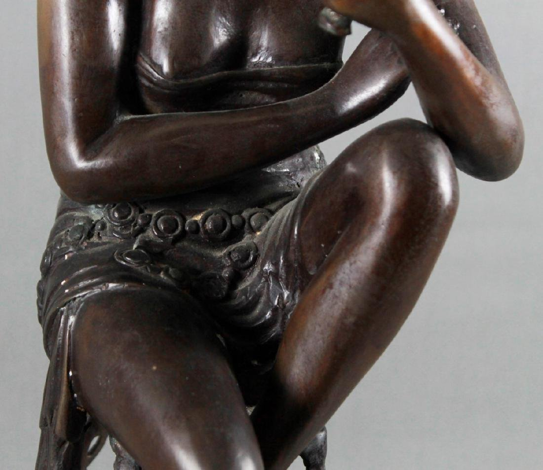 BRONZE FIGURE OF LADY SITTING ON STOOL - 3
