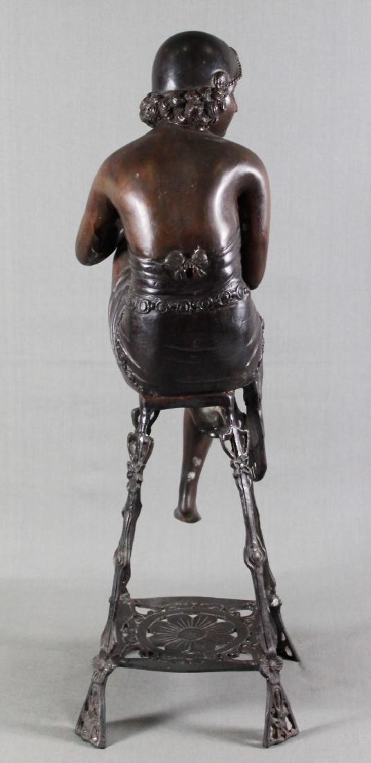 BRONZE FIGURE OF LADY SITTING ON STOOL - 4