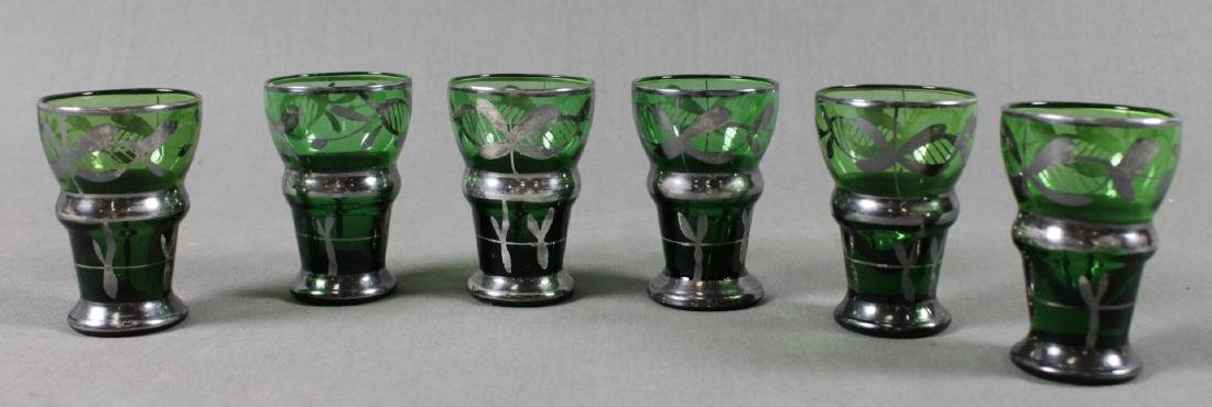 6 ITALIAN AND SILVER OVERLAY GLASS CORDIALS
